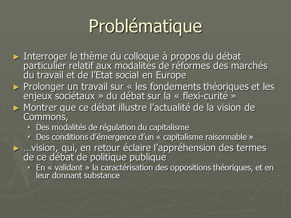 Problématique Interroger le thème du colloque à propos du débat particulier relatif aux modalités de réformes des marchés du travail et de lEtat social en Europe Interroger le thème du colloque à propos du débat particulier relatif aux modalités de réformes des marchés du travail et de lEtat social en Europe Prolonger un travail sur « les fondements théoriques et les enjeux sociétaux » du débat sur la « flexi-curité » Prolonger un travail sur « les fondements théoriques et les enjeux sociétaux » du débat sur la « flexi-curité » Montrer que ce débat illustre lactualité de la vision de Commons, Montrer que ce débat illustre lactualité de la vision de Commons, Des modalités de régulation du capitalisme Des modalités de régulation du capitalisme Des conditions démergence dun « capitalisme raisonnable » Des conditions démergence dun « capitalisme raisonnable » …vision, qui, en retour éclaire lappréhension des termes de ce débat de politique publique …vision, qui, en retour éclaire lappréhension des termes de ce débat de politique publique En « validant » la caractérisation des oppositions théoriques, et en leur donnant substance En « validant » la caractérisation des oppositions théoriques, et en leur donnant substance
