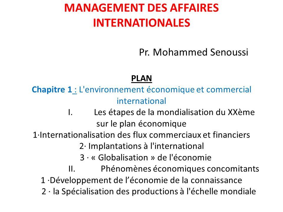 PLAN Chapitre 1 : L'environnement économique et commercial international I. Les étapes de la mondialisation du XXème sur le plan économique 1·Internat