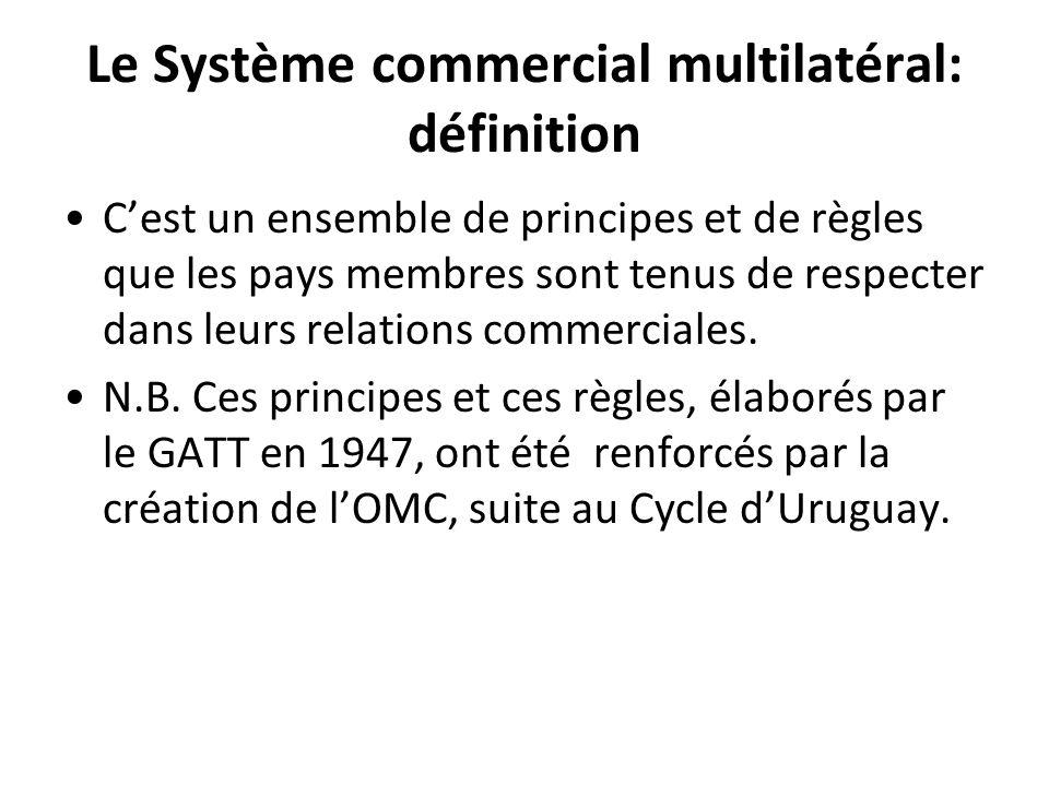 Le Système commercial multilatéral: définition Cest un ensemble de principes et de règles que les pays membres sont tenus de respecter dans leurs rela