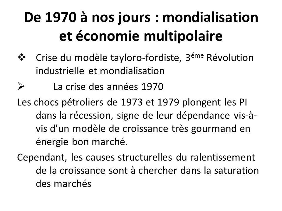 De 1970 à nos jours : mondialisation et économie multipolaire Crise du modèle tayloro-fordiste, 3 éme Révolution industrielle et mondialisation La cri