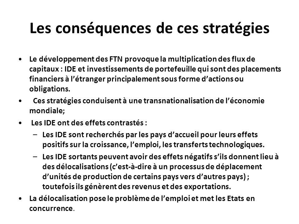 Les conséquences de ces stratégies Le développement des FTN provoque la multiplication des flux de capitaux : IDE et investissements de portefeuille q