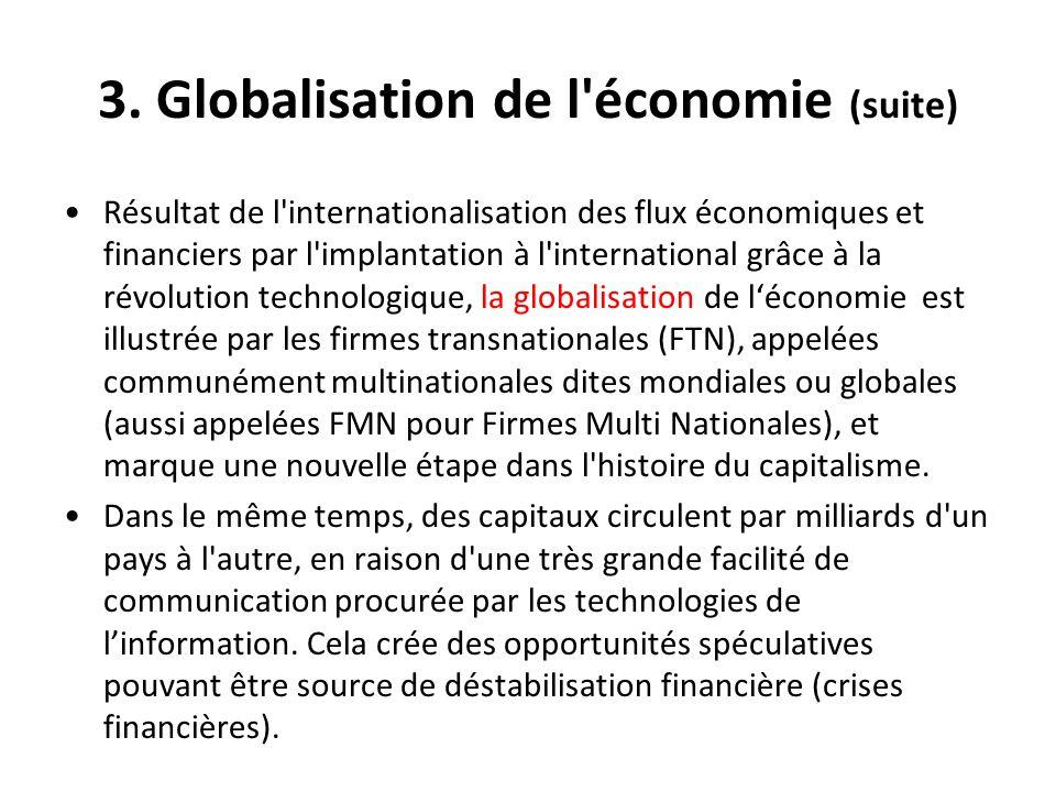 3. Globalisation de l'économie (suite) Résultat de l'internationalisation des flux économiques et financiers par l'implantation à l'international grâc
