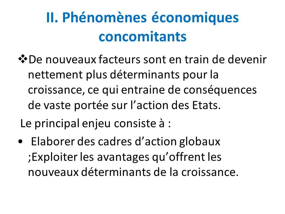 II. Phénomènes économiques concomitants De nouveaux facteurs sont en train de devenir nettement plus déterminants pour la croissance, ce qui entraine