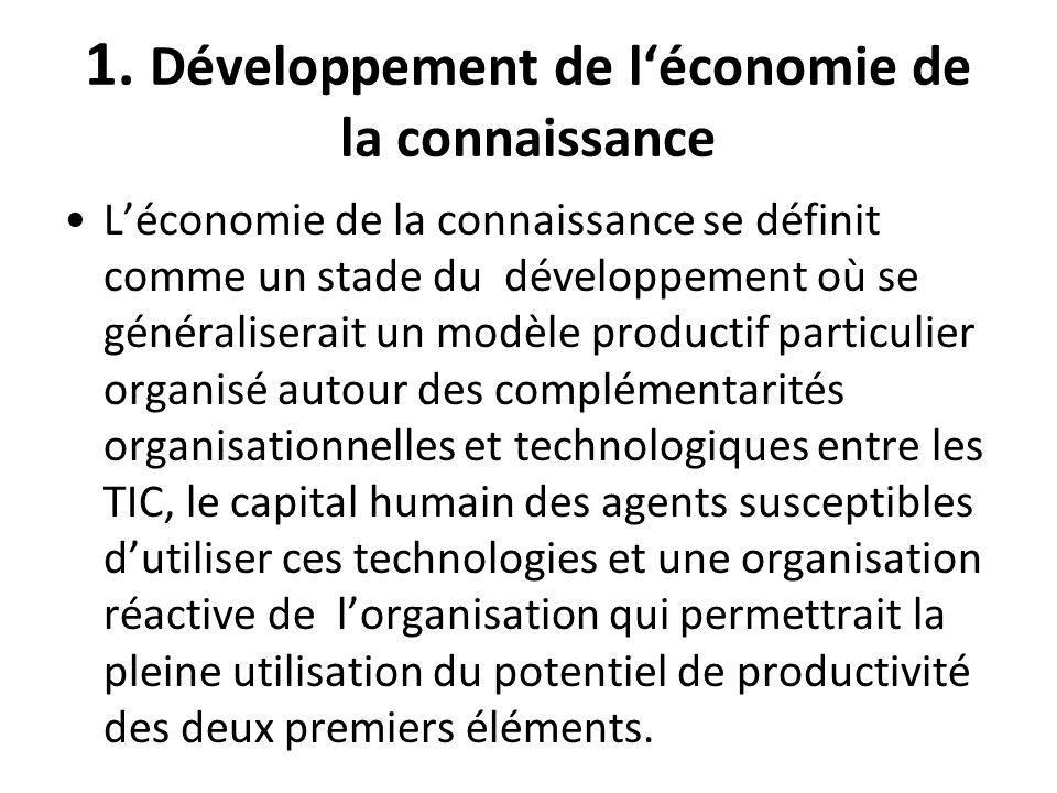 1. Développement de léconomie de la connaissance Léconomie de la connaissance se définit comme un stade du développement où se généraliserait un modèl