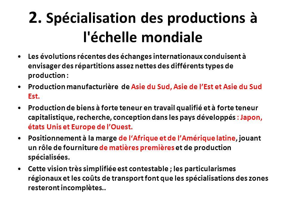 2. Spécialisation des productions à l'échelle mondiale Les évolutions récentes des échanges internationaux conduisent à envisager des répartitions ass