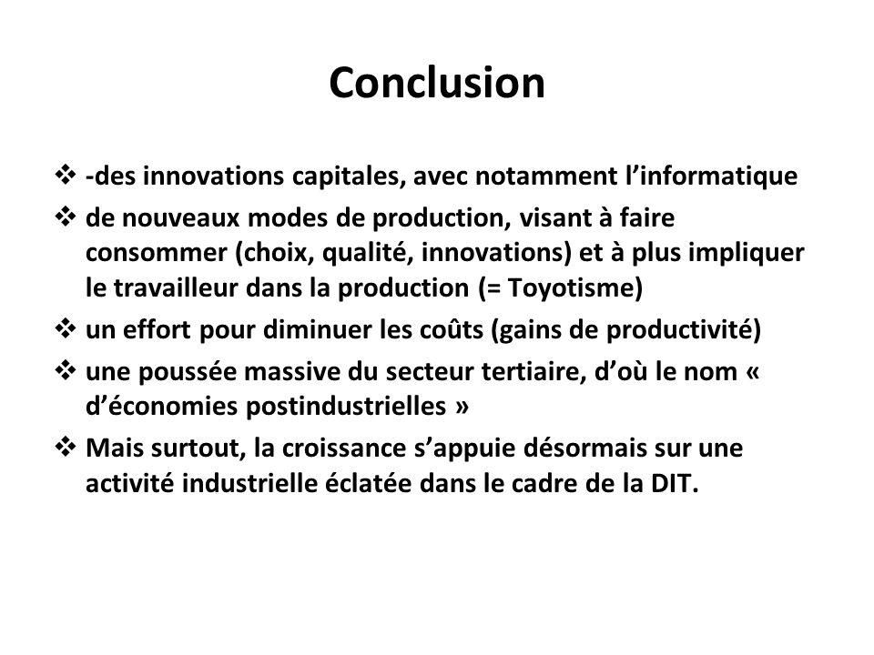 Conclusion -des innovations capitales, avec notamment linformatique de nouveaux modes de production, visant à faire consommer (choix, qualité, innovat