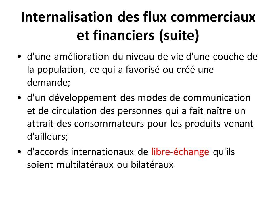 Internalisation des flux commerciaux et financiers (suite) d'une amélioration du niveau de vie d'une couche de la population, ce qui a favorisé ou cré