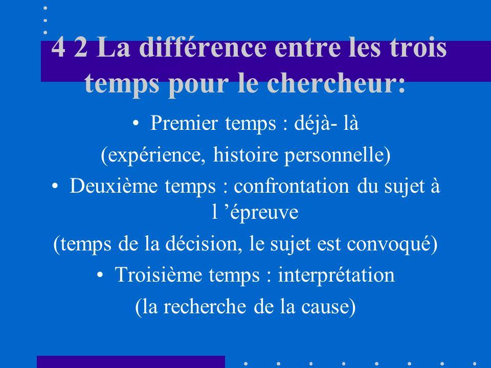 4 2 La différence entre les trois temps pour le chercheur: Premier temps : déjà- là (expérience, histoire personnelle) Deuxième temps : confrontation du sujet à l épreuve (temps de la décision, le sujet est convoqué) Troisième temps : interprétation (la recherche de la cause)