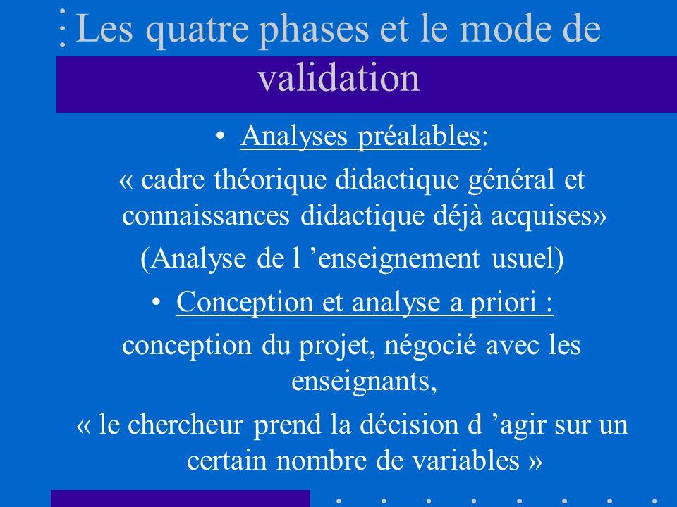 Les quatre phases et le mode de validation Analyses préalables: « cadre théorique didactique général et connaissances didactique déjà acquises» (Analyse de l enseignement usuel) Conception et analyse a priori : conception du projet, négocié avec les enseignants, « le chercheur prend la décision d agir sur un certain nombre de variables »