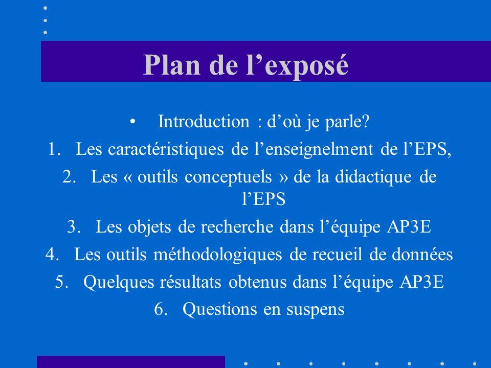 Plan de lexposé Introduction : doù je parle? 1.Les caractéristiques de lenseignelment de lEPS, 2.Les « outils conceptuels » de la didactique de lEPS 3