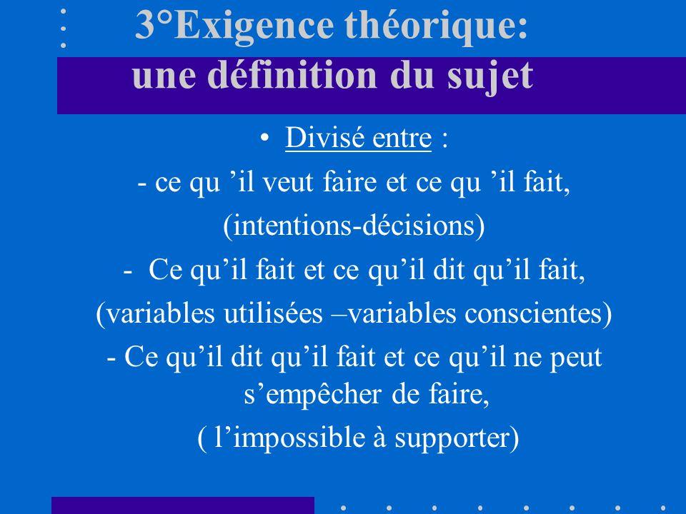 3°Exigence théorique: une définition du sujet Divisé entre : - ce qu il veut faire et ce qu il fait, (intentions-décisions) -Ce quil fait et ce quil dit quil fait, (variables utilisées –variables conscientes) - Ce quil dit quil fait et ce quil ne peut sempêcher de faire, ( limpossible à supporter)