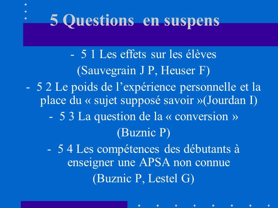 5 Questions en suspens -5 1 Les effets sur les élèves (Sauvegrain J P, Heuser F) -5 2 Le poids de lexpérience personnelle et la place du « sujet supposé savoir »(Jourdan I) -5 3 La question de la « conversion » (Buznic P) -5 4 Les compétences des débutants à enseigner une APSA non connue (Buznic P, Lestel G)