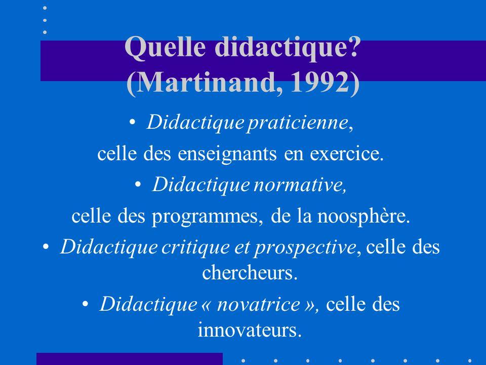 Quelle didactique? (Martinand, 1992) Didactique praticienne, celle des enseignants en exercice. Didactique normative, celle des programmes, de la noos