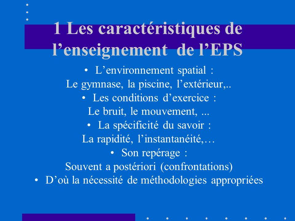 1 Les caractéristiques de lenseignement de lEPS Lenvironnement spatial : Le gymnase, la piscine, lextérieur,.. Les conditions dexercice : Le bruit, le