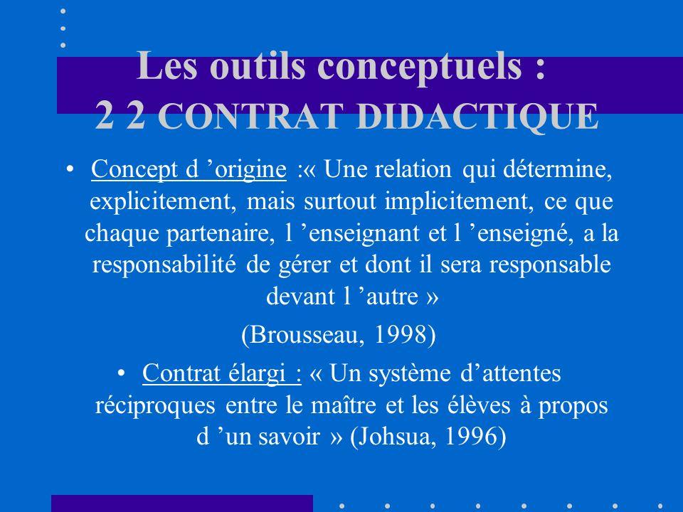 Les outils conceptuels : 2 2 CONTRAT DIDACTIQUE Concept d origine :« Une relation qui détermine, explicitement, mais surtout implicitement, ce que chaque partenaire, l enseignant et l enseigné, a la responsabilité de gérer et dont il sera responsable devant l autre » (Brousseau, 1998) Contrat élargi : « Un système dattentes réciproques entre le maître et les élèves à propos d un savoir » (Johsua, 1996)