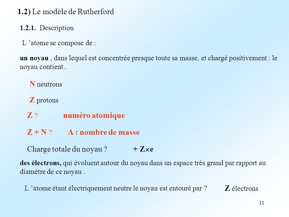 11 1.2) Le modèle de Rutherford 1.2.1.
