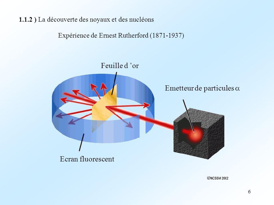 6 1.1.2 ) La découverte des noyaux et des nucléons Expérience de Ernest Rutherford (1871-1937) Feuille d or Ecran fluorescent Emetteur de particules