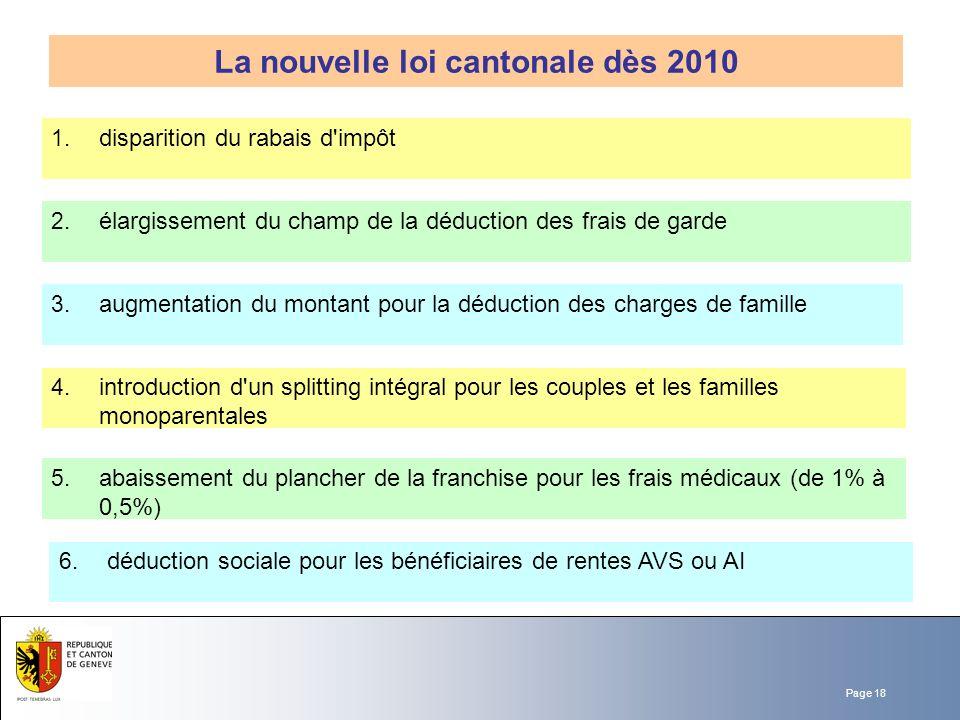 Page 18 La nouvelle loi cantonale dès 2010 2. élargissement du champ de la déduction des frais de garde 3. augmentation du montant pour la déduction d