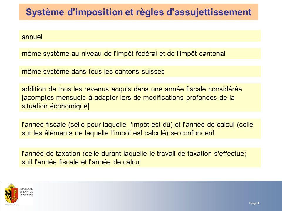 Page 4 Système d'imposition et règles d'assujettissement même système au niveau de l'impôt fédéral et de l'impôt cantonal même système dans tous les c