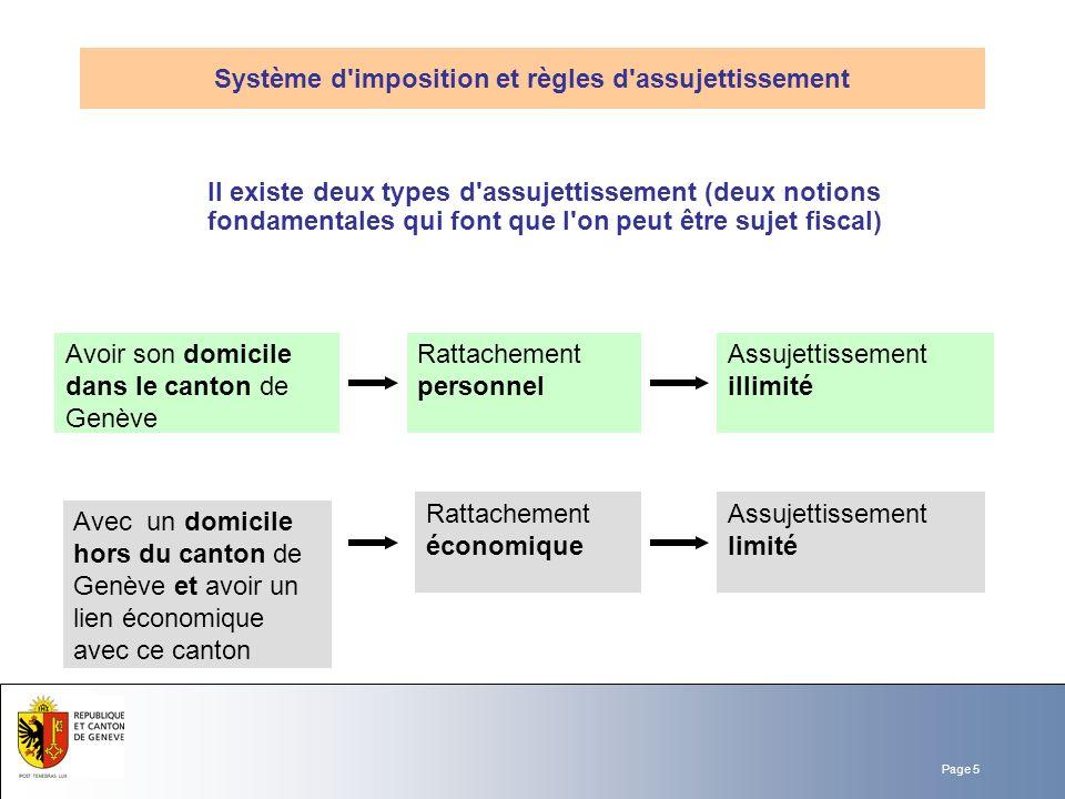 Page 5 Il existe deux types d'assujettissement (deux notions fondamentales qui font que l'on peut être sujet fiscal) Système d'imposition et règles d'