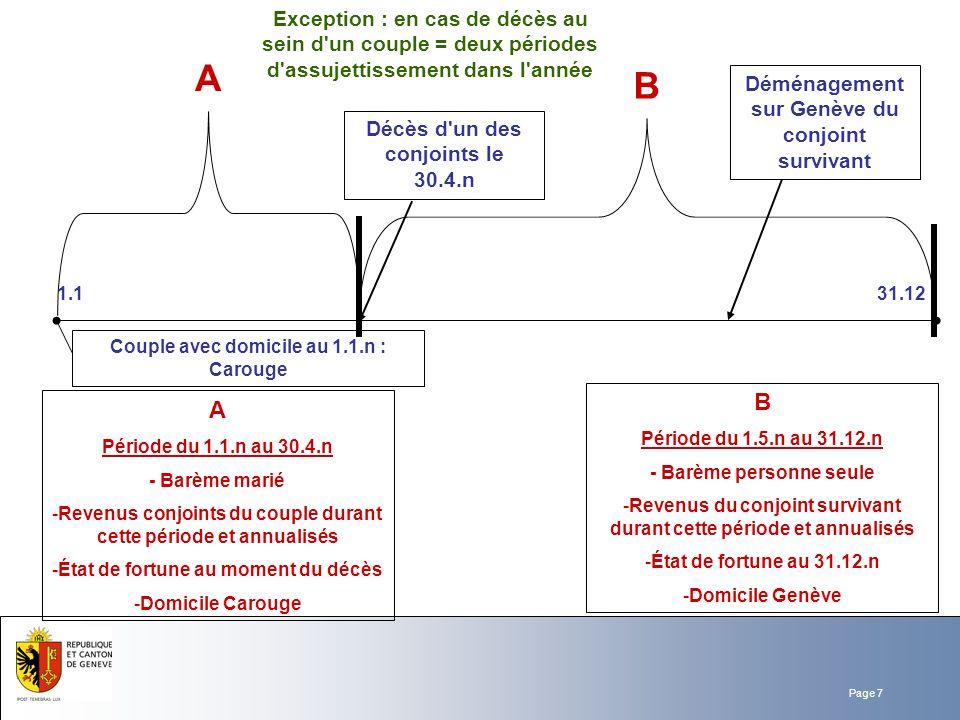 Page 7 Décès d'un des conjoints le 30.4.n A Période du 1.1.n au 30.4.n - Barème marié -Revenus conjoints du couple durant cette période et annualisés