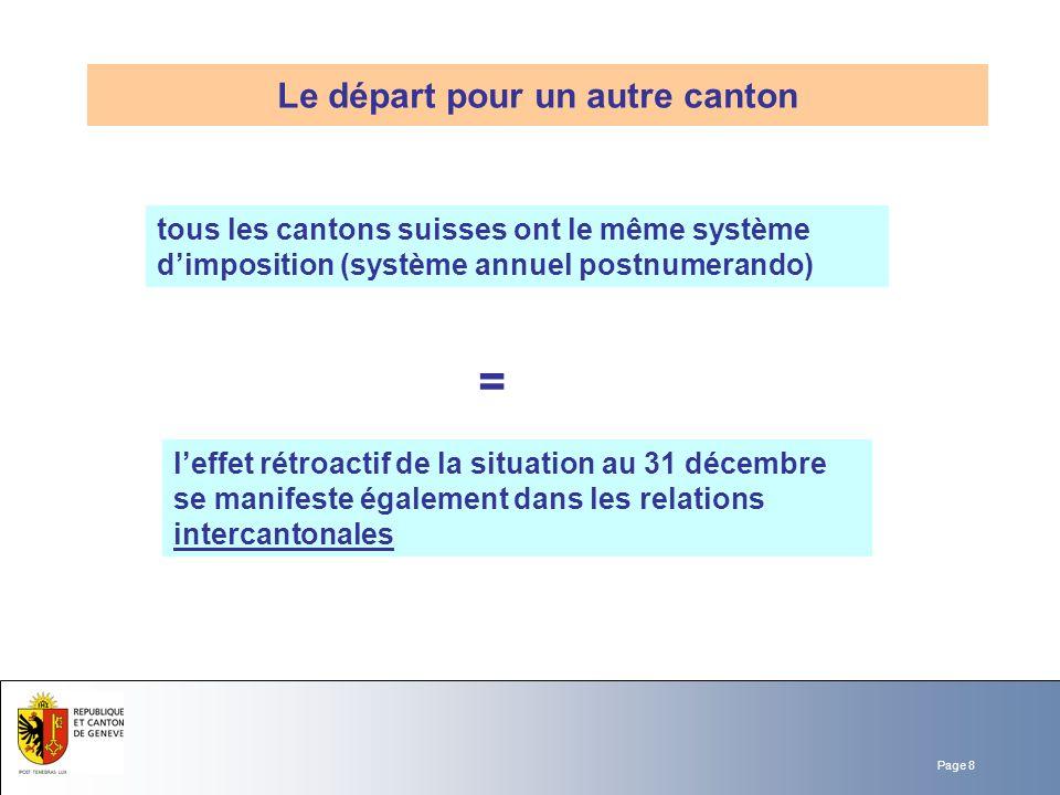 Page 8 tous les cantons suisses ont le même système dimposition (système annuel postnumerando) Le départ pour un autre canton = leffet rétroactif de l