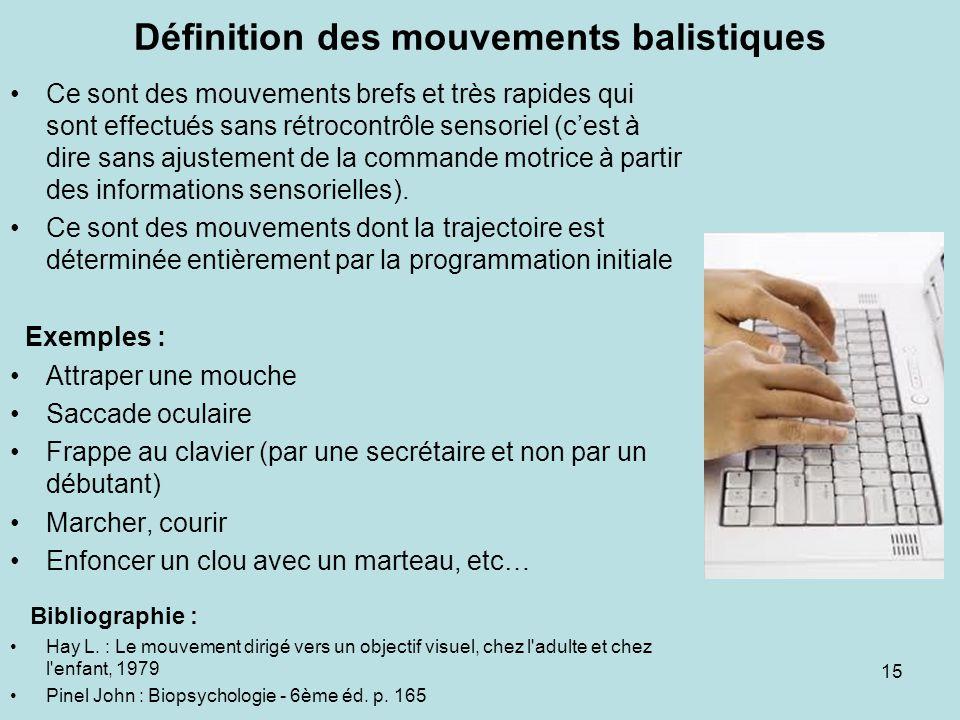 Définition des mouvements balistiques Ce sont des mouvements brefs et très rapides qui sont effectués sans rétrocontrôle sensoriel (cest à dire sans a