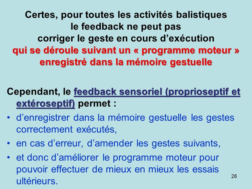 qui se déroule suivant un « programme moteur » enregistré dans la mémoire gestuelle Certes, pour toutes les activités balistiques le feedback ne peut