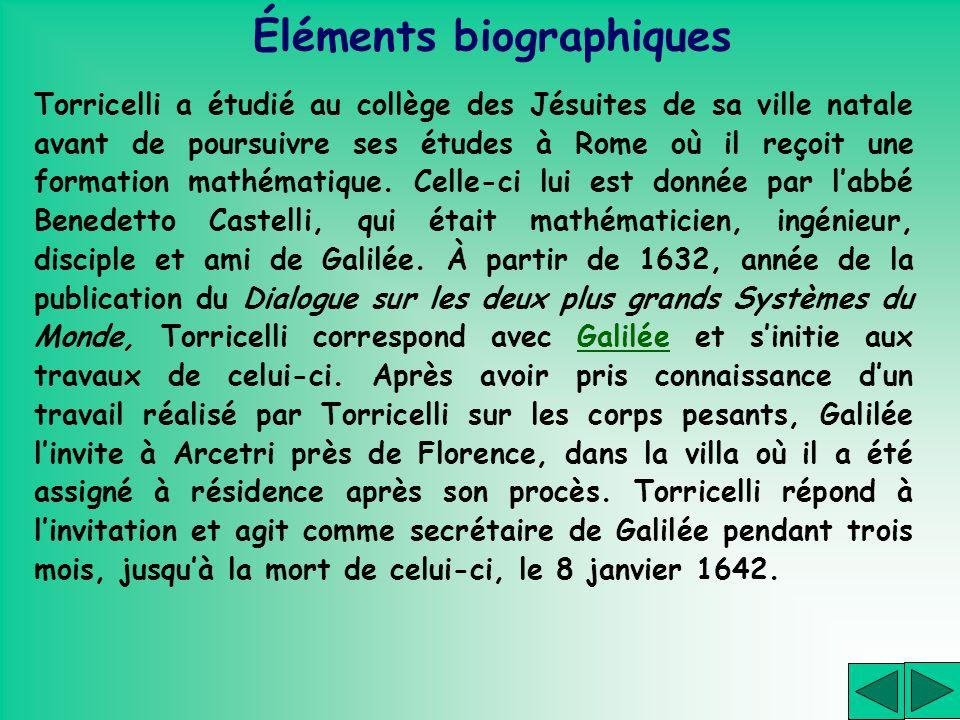 Torricelli a étudié au collège des Jésuites de sa ville natale avant de poursuivre ses études à Rome où il reçoit une formation mathématique. Celle-ci