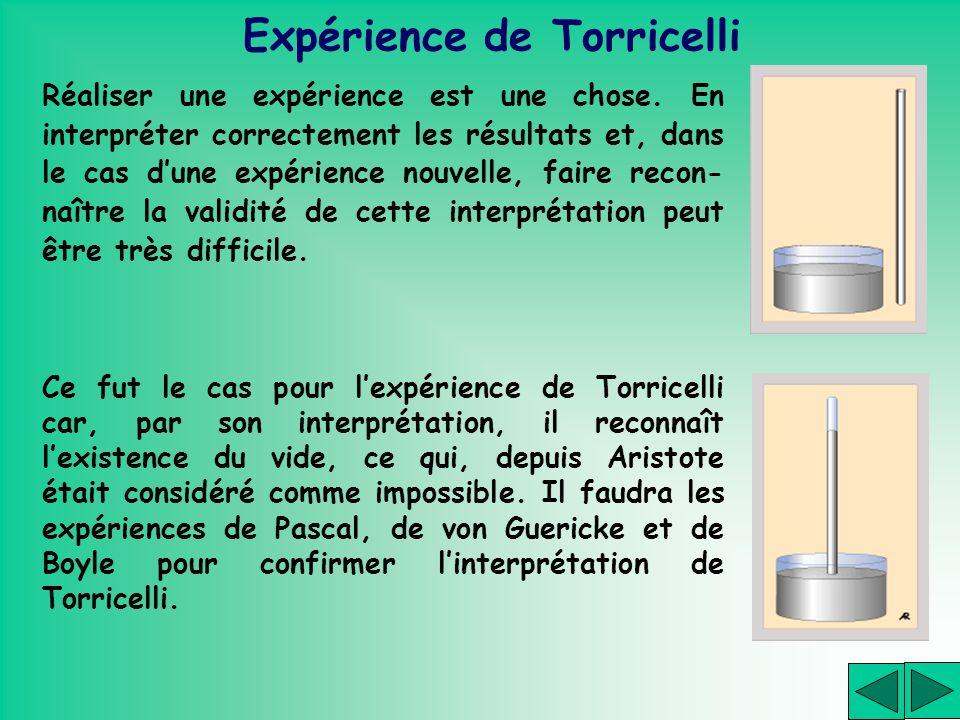 Expérience de Torricelli Réaliser une expérience est une chose. En interpréter correctement les résultats et, dans le cas dune expérience nouvelle, fa