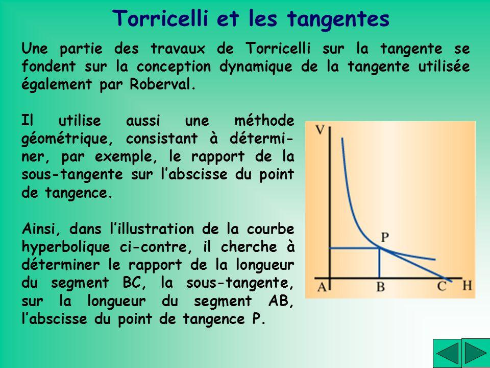 Torricelli et les tangentes Une partie des travaux de Torricelli sur la tangente se fondent sur la conception dynamique de la tangente utilisée égalem