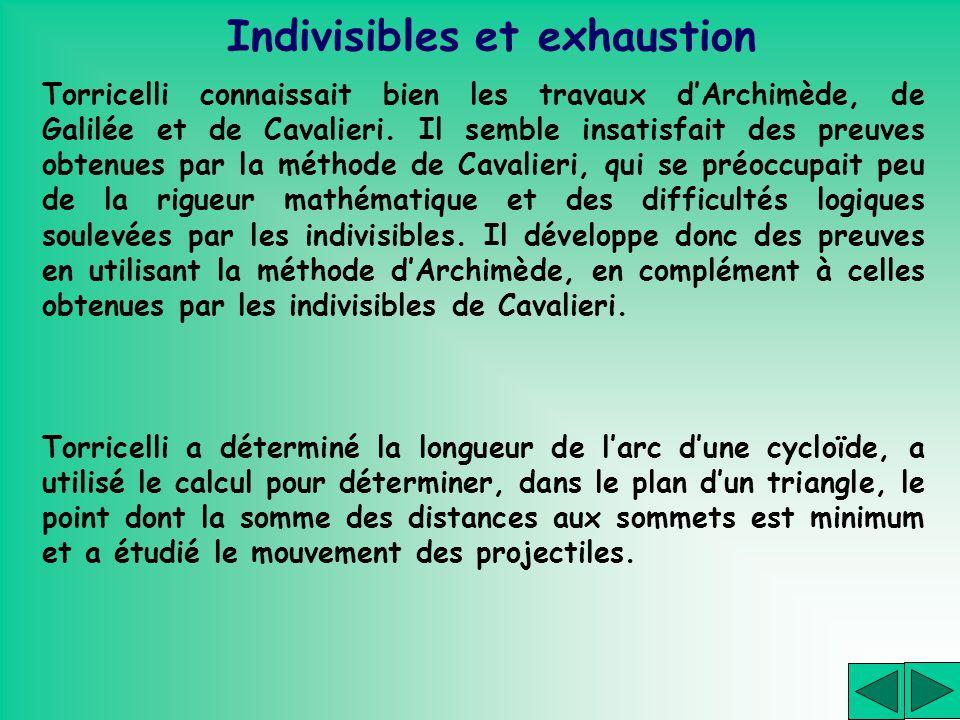 Indivisibles et exhaustion Torricelli connaissait bien les travaux dArchimède, de Galilée et de Cavalieri. Il semble insatisfait des preuves obtenues