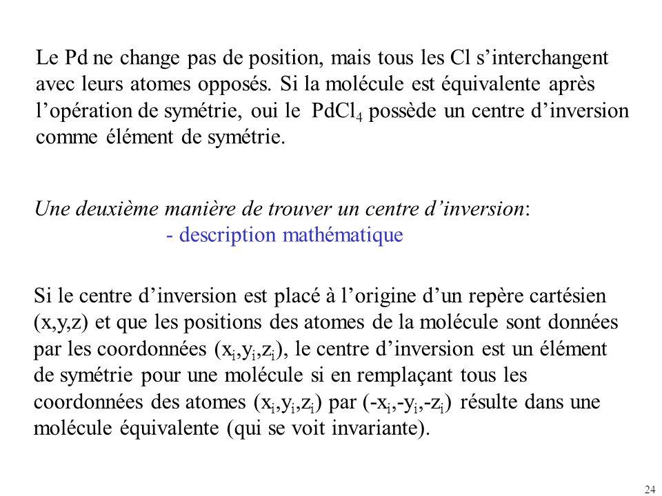 24 Une deuxième manière de trouver un centre dinversion: - description mathématique Le Pd ne change pas de position, mais tous les Cl sinterchangent a