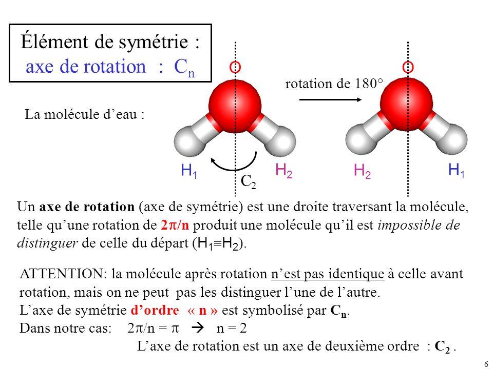 6 La molécule deau : H1H1 H2H2 O Un axe de rotation (axe de symétrie) est une droite traversant la molécule, telle quune rotation de 2 /n produit une
