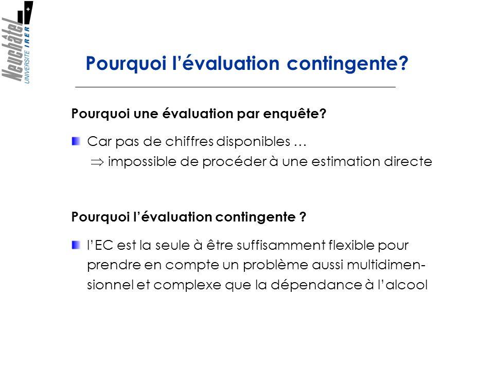 Pourquoi lévaluation contingente? Pourquoi une évaluation par enquête? Car pas de chiffres disponibles … impossible de procéder à une estimation direc