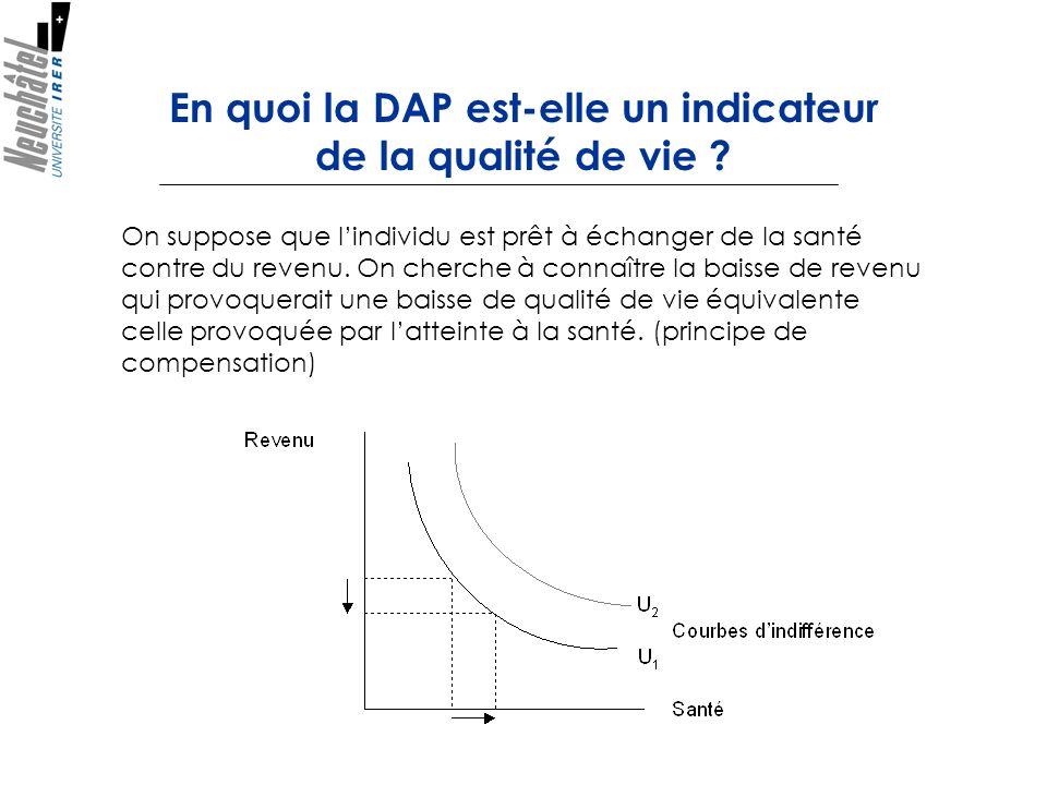 En quoi la DAP est-elle un indicateur de la qualité de vie ? On suppose que lindividu est prêt à échanger de la santé contre du revenu. On cherche à c