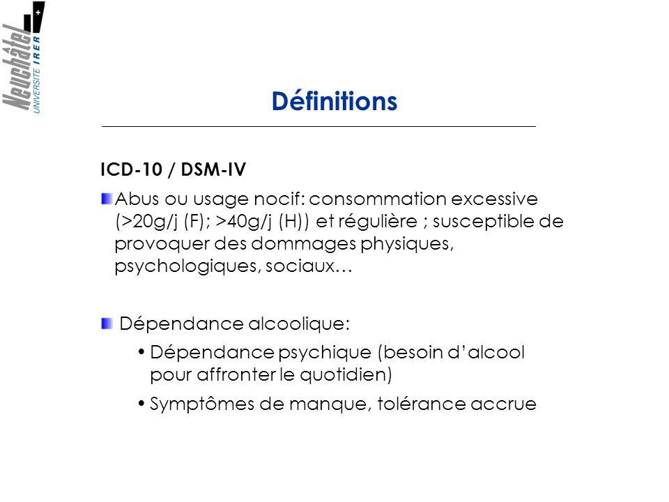 Définitions ICD-10 / DSM-IV Abus ou usage nocif: consommation excessive (>20g/j (F); >40g/j (H)) et régulière ; susceptible de provoquer des dommages