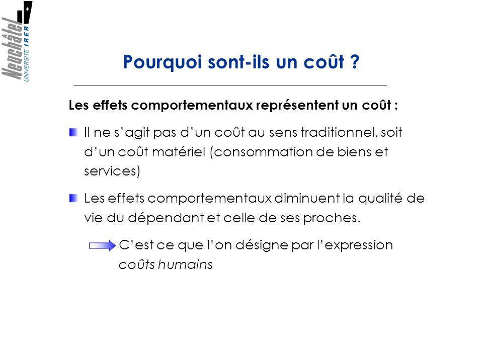 Les effets comportementaux représentent un coût : Il ne sagit pas dun coût au sens traditionnel, soit dun coût matériel (consommation de biens et serv