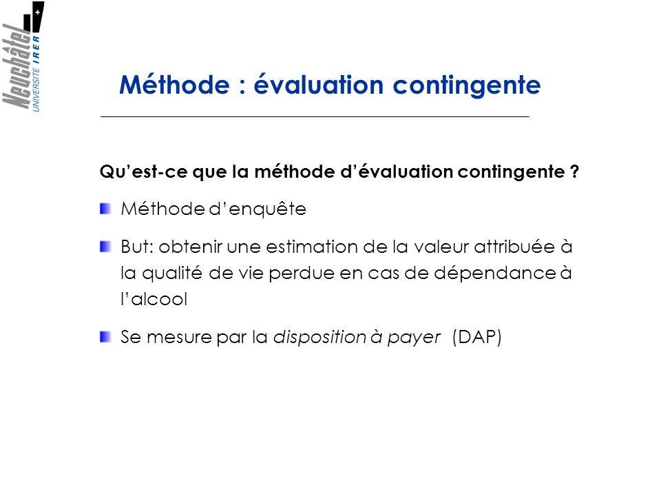 Méthode : évaluation contingente Quest-ce que la méthode dévaluation contingente ? Méthode denquête But: obtenir une estimation de la valeur attribuée