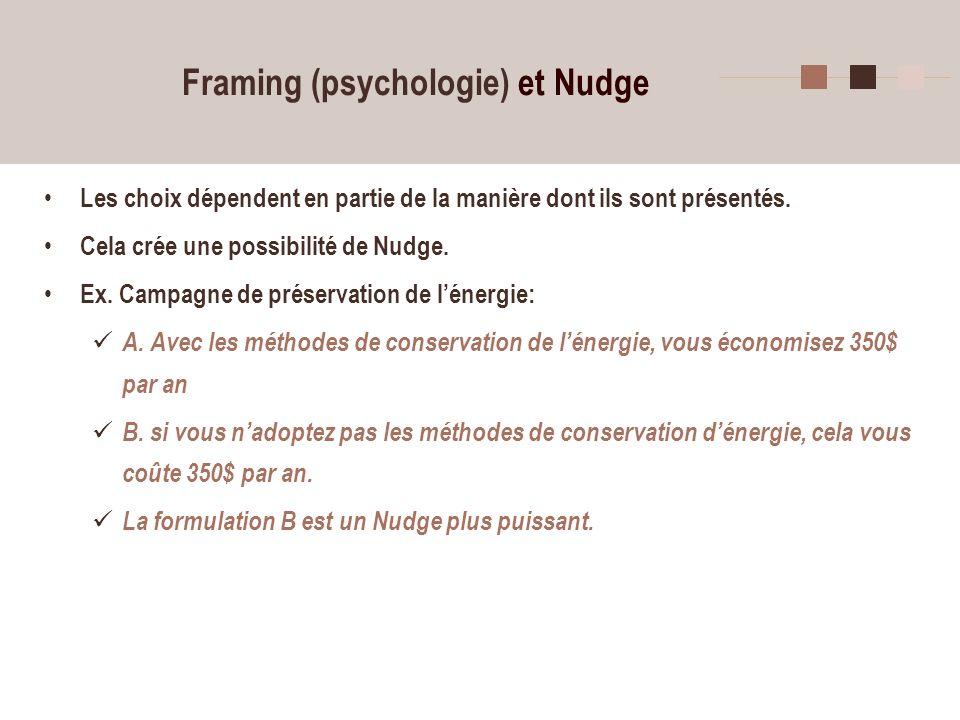 11 Framing (psychologie) et Nudge Les choix dépendent en partie de la manière dont ils sont présentés. Cela crée une possibilité de Nudge. Ex. Campagn