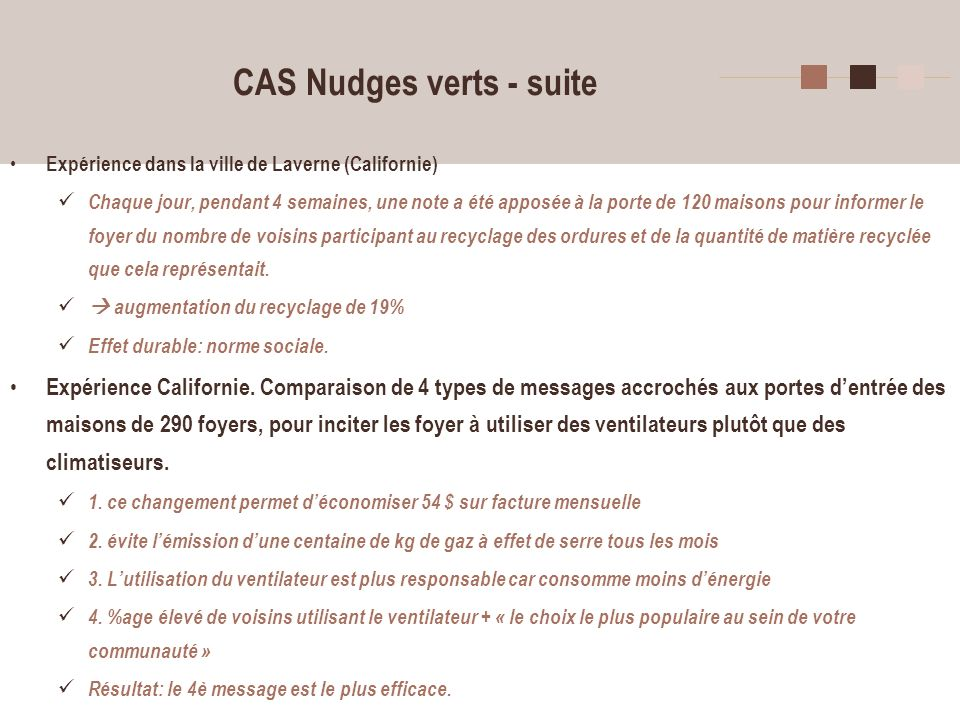 13 CAS Nudges verts - suite Expérience dans la ville de Laverne (Californie) Chaque jour, pendant 4 semaines, une note a été apposée à la porte de 120
