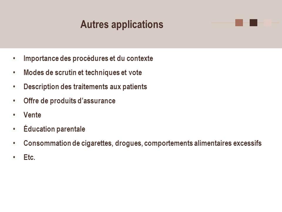 16 Autres applications Importance des procédures et du contexte Modes de scrutin et techniques et vote Description des traitements aux patients Offre