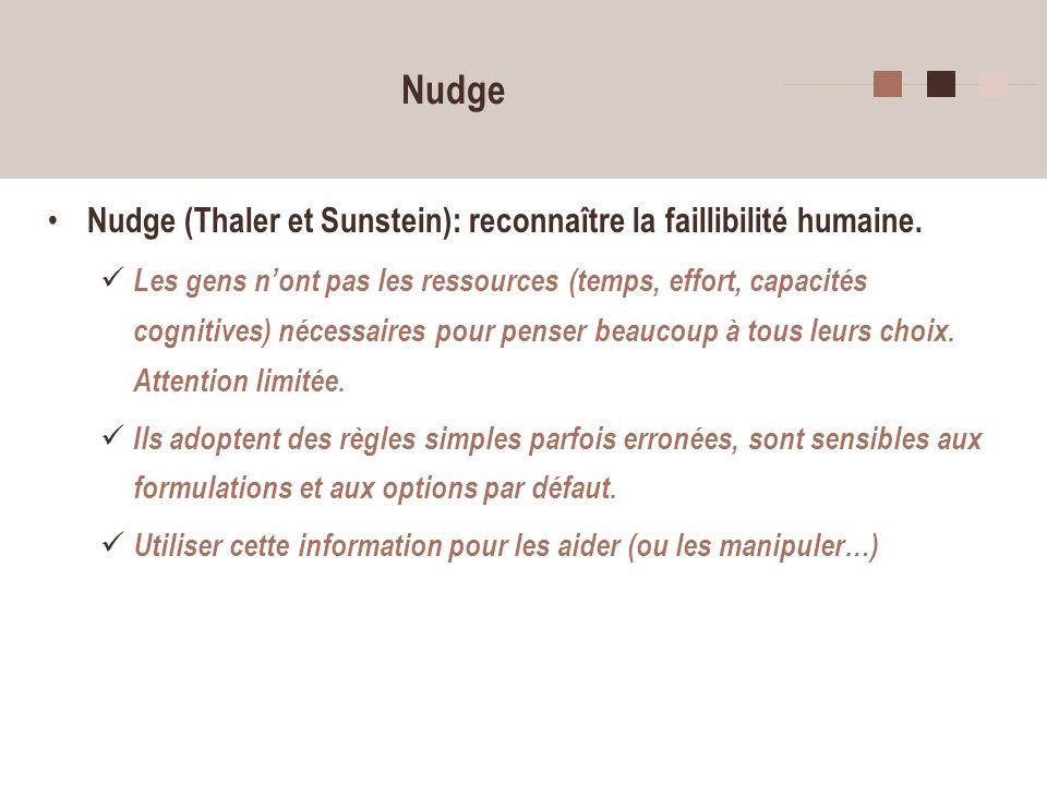 3 Nudge Nudge (Thaler et Sunstein): reconnaître la faillibilité humaine. Les gens nont pas les ressources (temps, effort, capacités cognitives) nécess