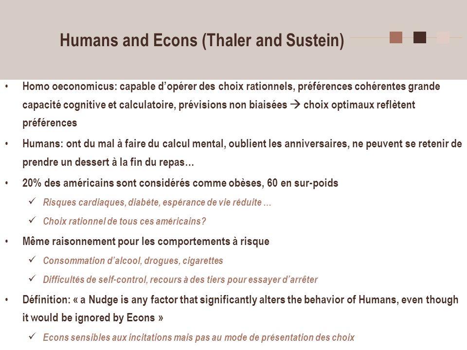 4 Humans and Econs (Thaler and Sustein) Homo oeconomicus: capable dopérer des choix rationnels, préférences cohérentes grande capacité cognitive et ca