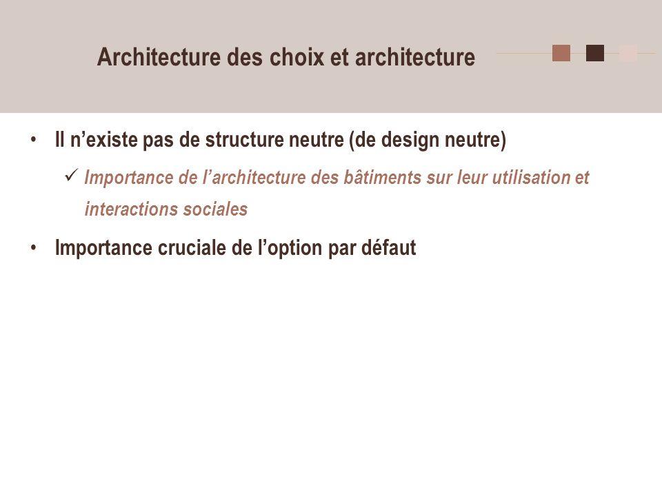 6 Architecture des choix et architecture Il nexiste pas de structure neutre (de design neutre) Importance de larchitecture des bâtiments sur leur util