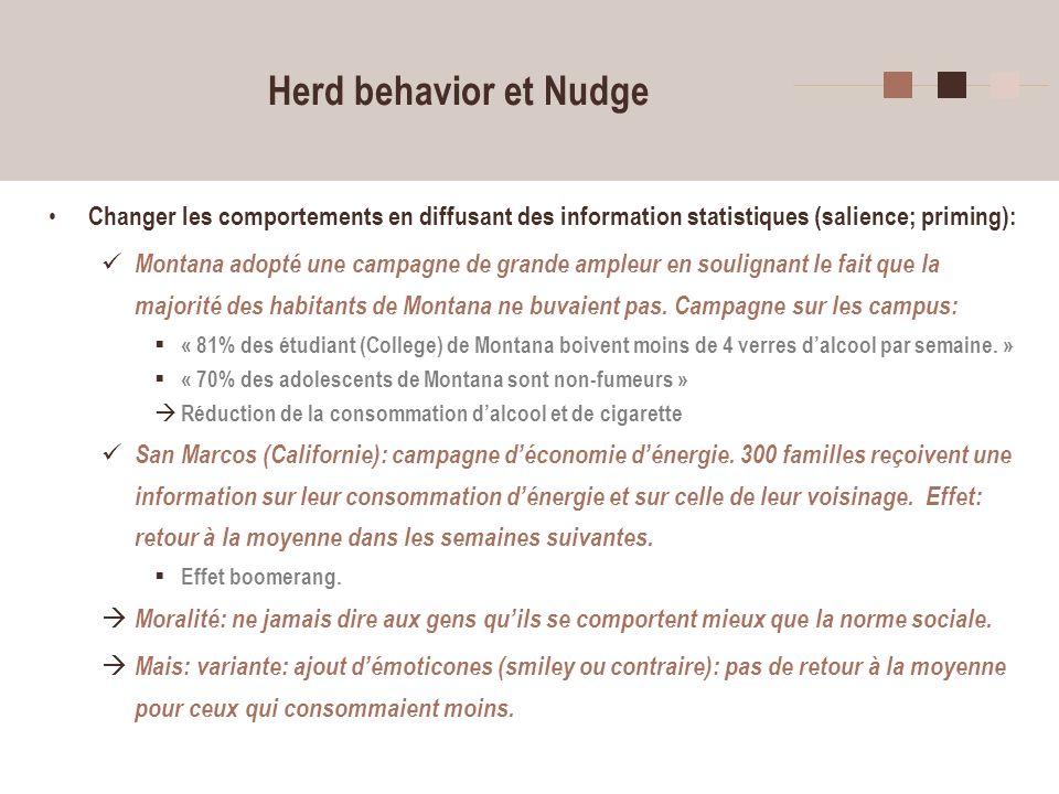 9 Herd behavior et Nudge Changer les comportements en diffusant des information statistiques (salience; priming): Montana adopté une campagne de grand