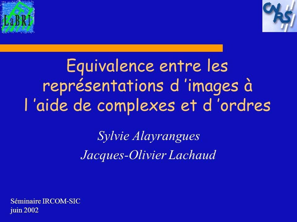 Equivalence entre les représentations d images à l aide de complexes et d ordres Sylvie Alayrangues Jacques-Olivier Lachaud Séminaire IRCOM-SIC juin 2