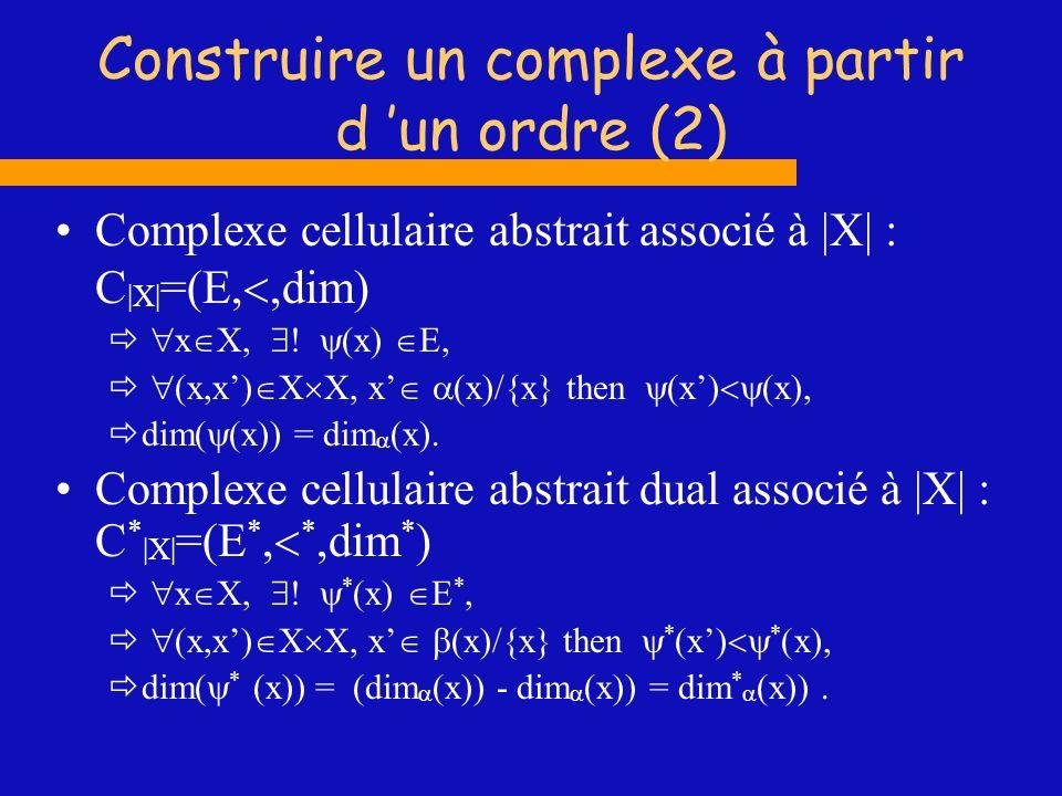 Construire un complexe à partir d un ordre (2) Complexe cellulaire abstrait associé à |X| : C |X| =(E,,dim) x X, (x) E, (x,x) X X, x (x)/{x} then (x)