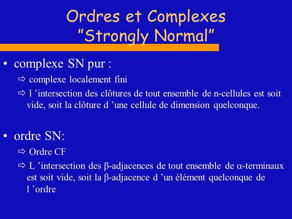Ordres et Complexes Strongly Normal complexe SN pur : complexe localement fini l intersection des clôtures de tout ensemble de n-cellules est soit vid