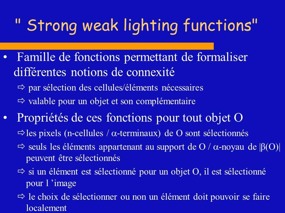 Strong weak lighting functions Famille de fonctions permettant de formaliser différentes notions de connexité par sélection des cellules/éléments nécessaires valable pour un objet et son complémentaire Propriétés de ces fonctions pour tout objet O les pixels (n-cellules / -terminaux) de O sont sélectionnés seuls les éléments appartenant au support de O / -noyau de |β(O)| peuvent être sélectionnés si un élément est sélectionné pour un objet O, il est sélectionné pour l image le choix de sélectionner ou non un élément doit pouvoir se faire localement